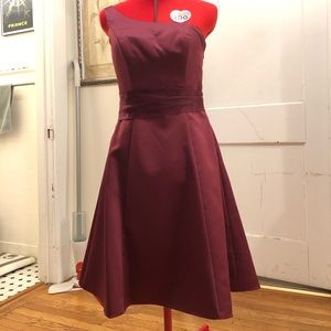 Alfred Angelo One Shoulder Berry Bridesmaid Dress